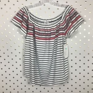 THML Off The Shoulder Embroidered Striped Top